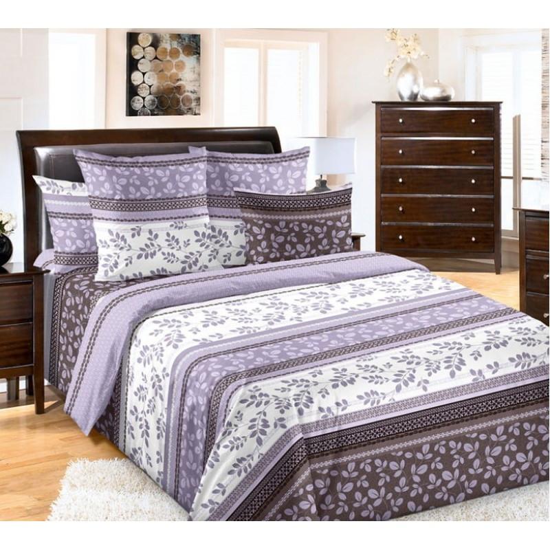 Комплект постельного белья евро Листик фиолетовый