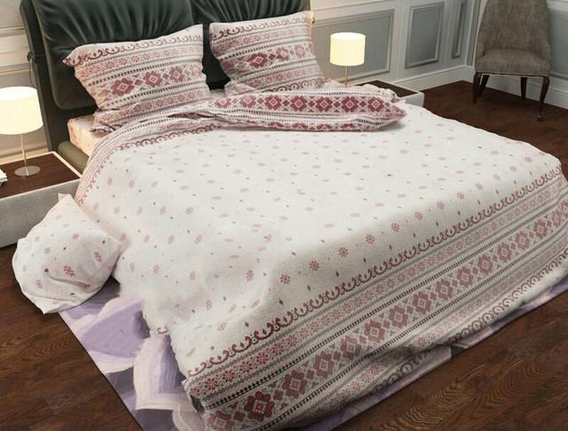 Комплект постельного белья евро Вышивка красная