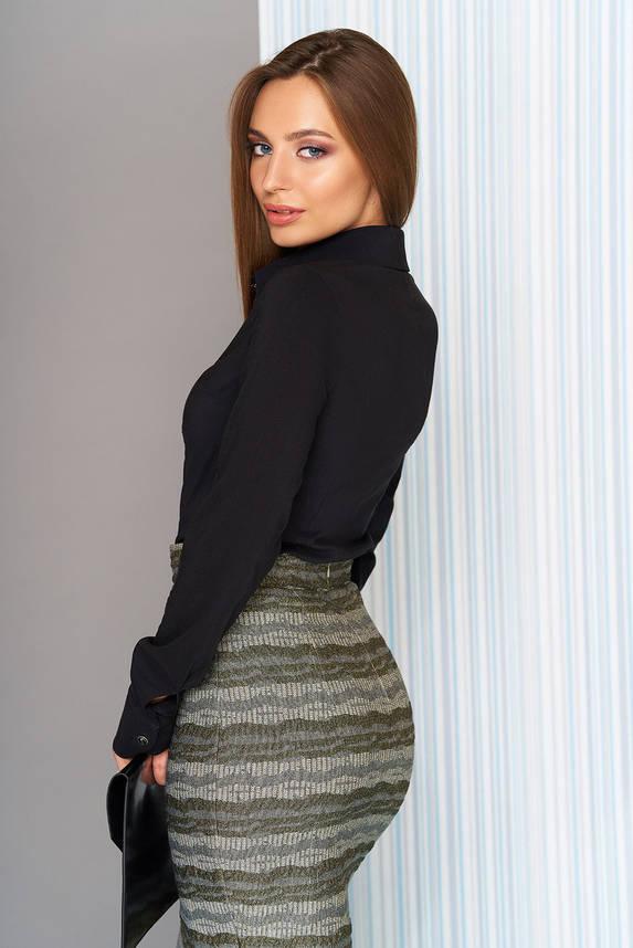Котоновая женская классическая рубашка черная, фото 2