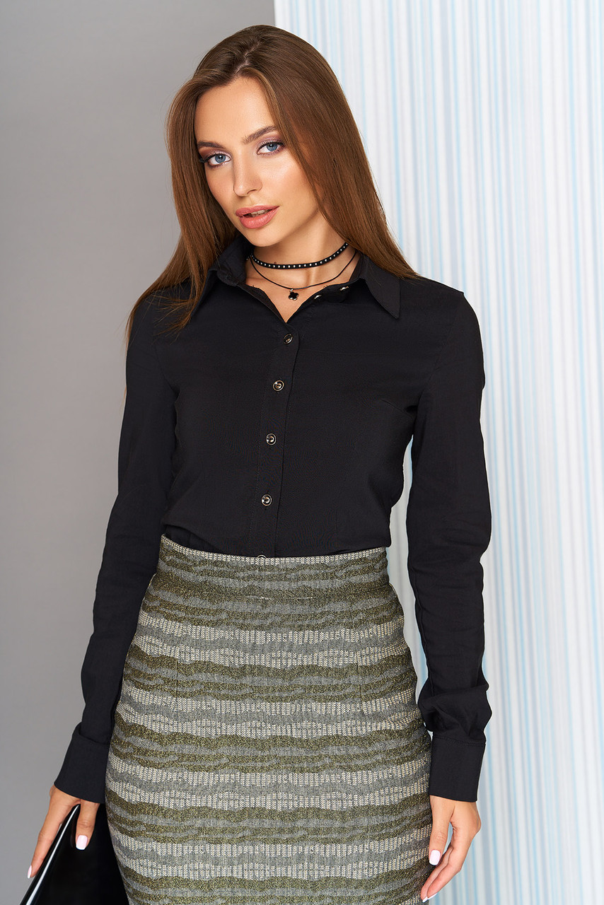 b4f0eacb684 Котоновая женская классическая рубашка черная - Интернет-магазин одежды  ALLSTUFF в Киеве