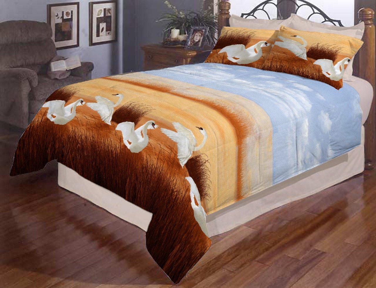 Комплект постельного белья евро Лебеди