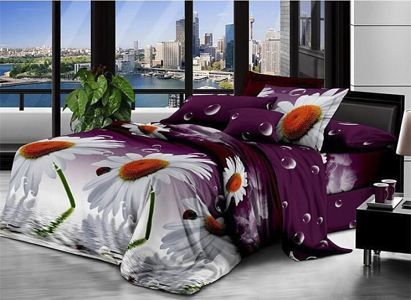Комплект постельного белья евро Ромашки на фиолетовом