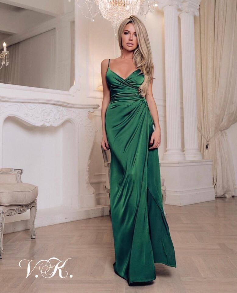 Длинное шелковое вечернее платье с имитацией на запах 42-44р