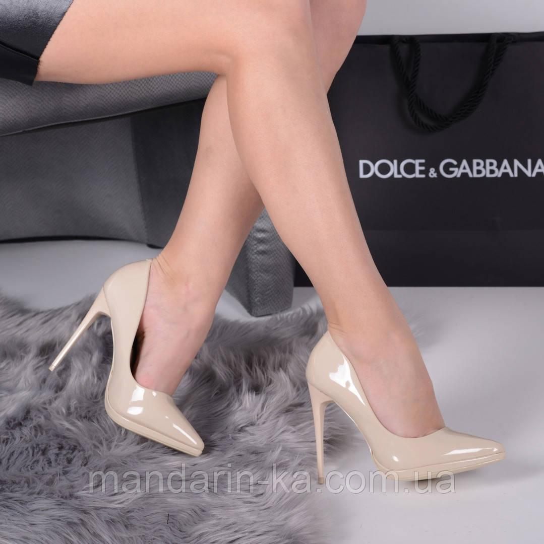 Женские туфли лодочки бежевые 11 см
