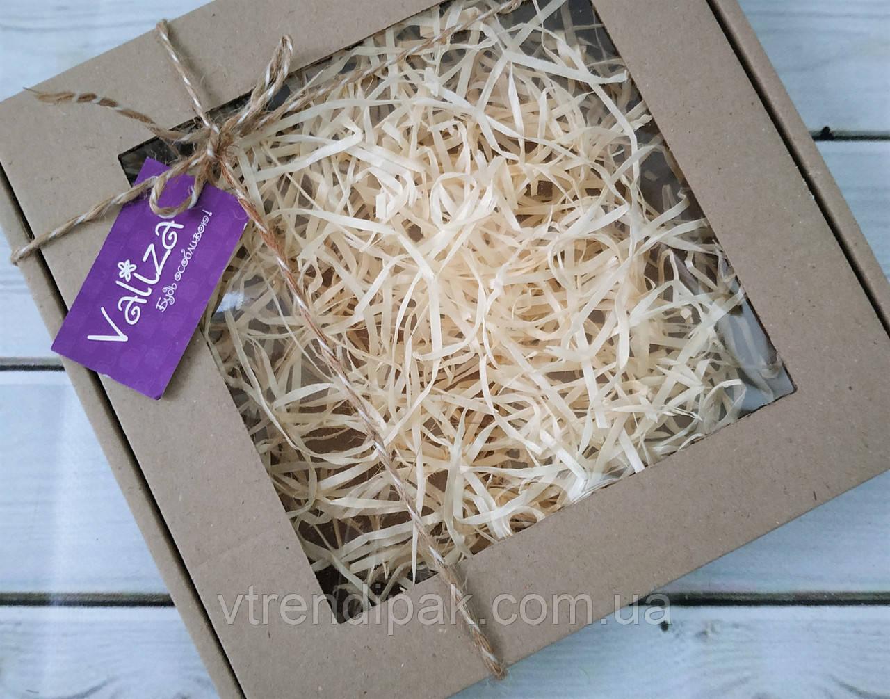 Коробка для пряника 200*200*30 бура з вікном (плівка ПВХ)