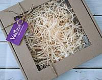 Коробка для пряника 200*200*30 бура з вікном (плівка ПВХ), фото 1