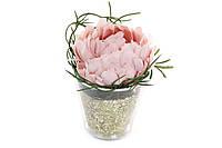 Декоративный цветок пиона в горошочке с золотым глитером, 11см