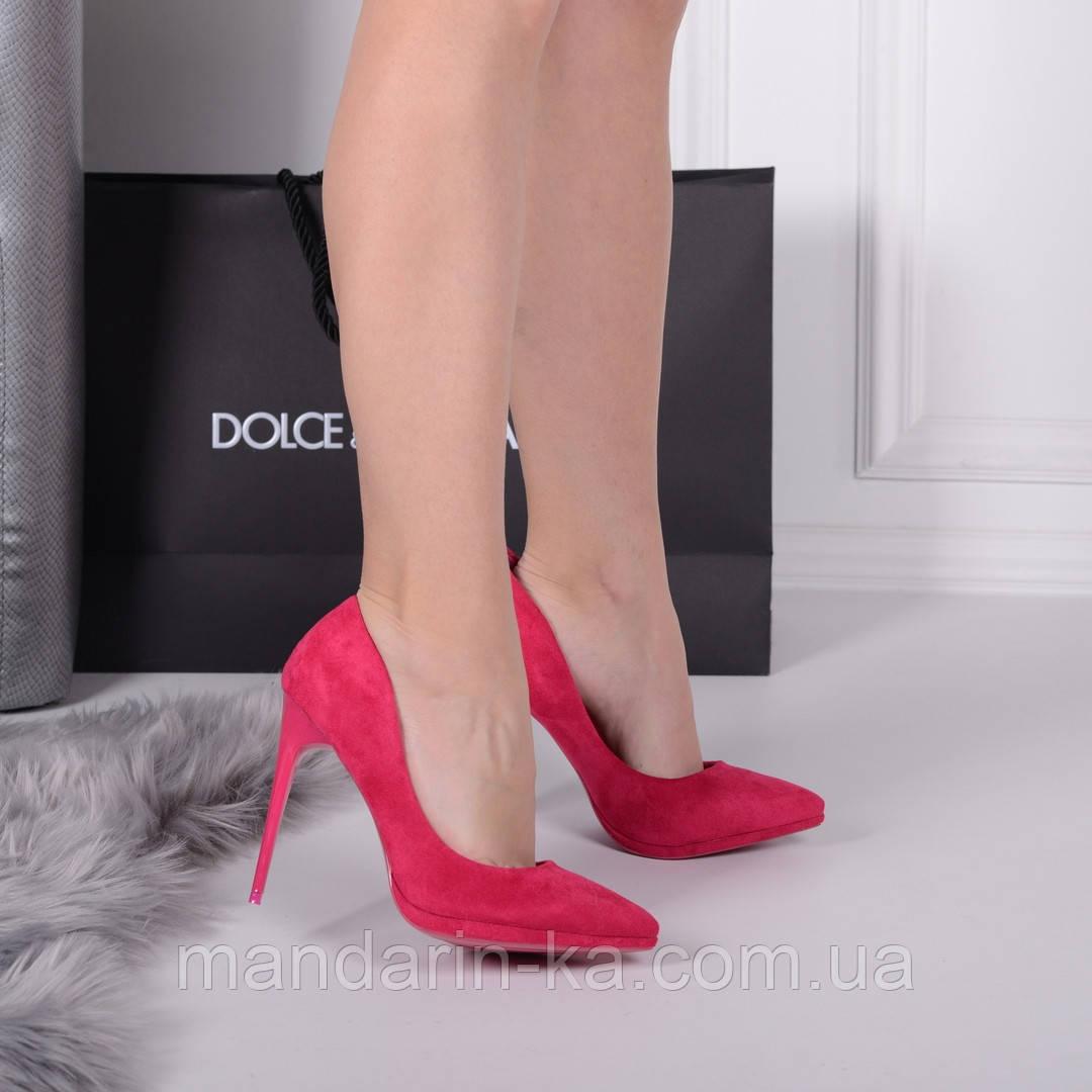 Женские туфли лодочки малиновые 11 см