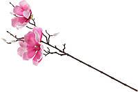 Декоративная ветвь Магнолии в инее, 66см, цвет - темно-розовый