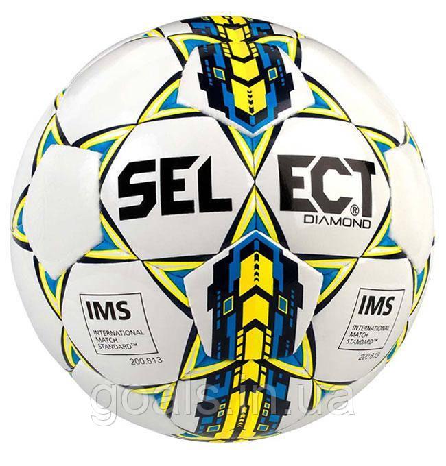 Мяч футбольный SELECT Diamond IMS NEW 4 размер Белый/Синий