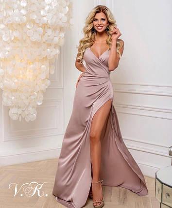 Вечернее шелковое платье в пол бежевого цвета 42-44р, фото 2