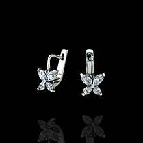 Серебряные серьги с камнями Мотыльки, фото 3