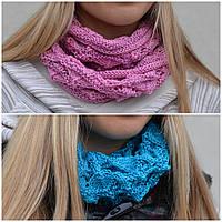 Весенний шарф-кольцо Ёжик. Т.синий, т.серый, розовый, св.сер, кофе, черный