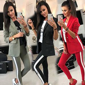 Женский костюм двойка пиджак и брюки с лампасами /разные цвета, 42-52р, sh-016/