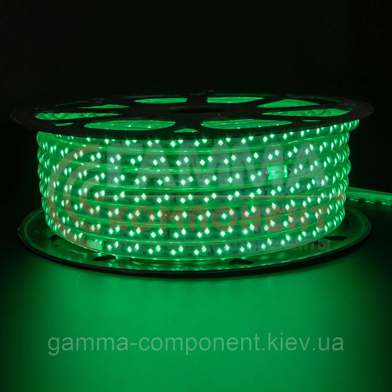 Светодиодная лента 220В зеленая smd 2835-120 лед/м 12Вт/м, герметичная. Бухта 50 метров.