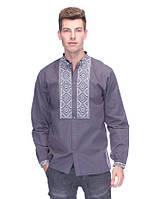 Класична сорочка з вишивкою (вишиванка) сіра, арт. 4221