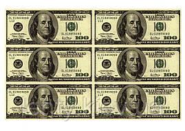 """Вафельна картинка на торт """"Гроші"""" А4 - 100 Доларів (6 купюр)"""