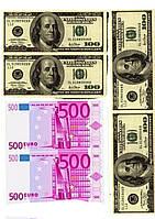 """Вафельная картинка на торт """"Деньги"""" А4- 100 долларов и 500 евро (6 купюр)"""