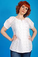 Жіноча літня біла ажурна батистова туніка №5255