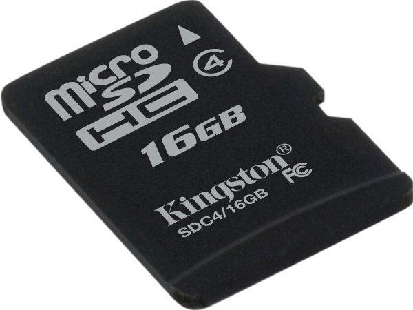 Карта памяти Kingston 16Gb microSDHC class 4 (SDC4/16GBSP)