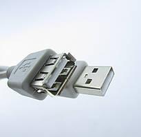 Подовжувач USB (шт. A - гн.А) version 2,0, діам.-4,5 мм, 1м., сірий (5-0702)