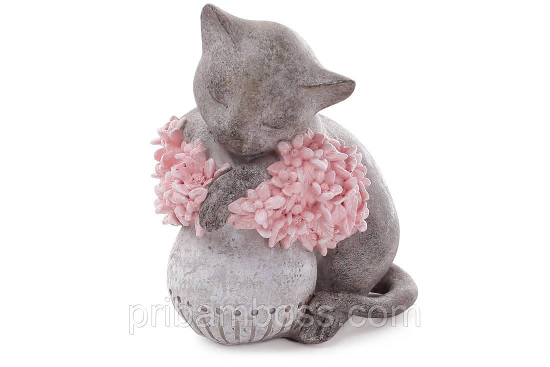 Декоративная статуэтка Кошка на вазе с розовыми цветами 18см