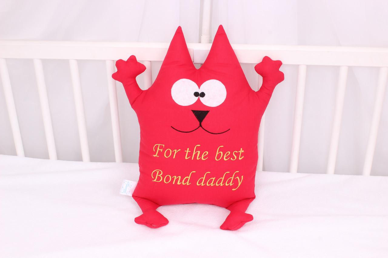 Подушка игрушка кот с  вышивкой