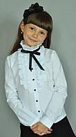 Школьная нарядная блузка с рюшами и чёрной лентой, фото 1