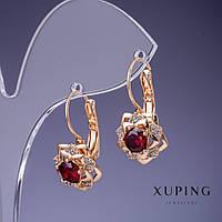 Серьги Xuping Mir-25159 классические в золотистом цвете с красным кристаллом 23*12мм
