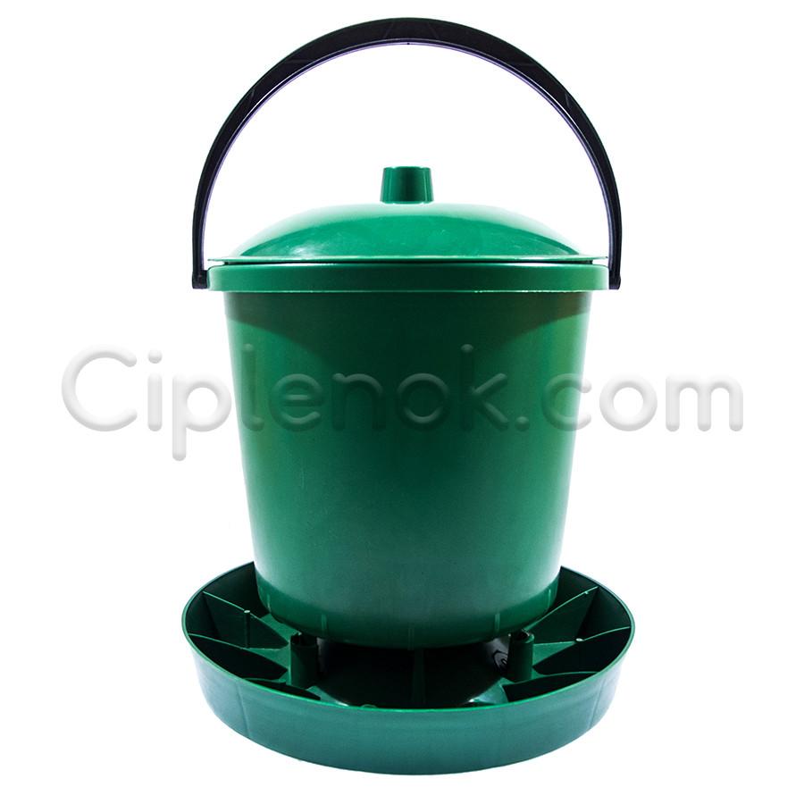 Бункерная кормушка 7,8 л / 5,2 кг с крышкой для бройлеров, кур несушек, уток, гусей, индюков, перепелов