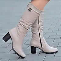 Женские зимние сапоги, полусапожки на широком каблуке натуральная кожа бежевые полушерсть удобные (Код: 1244)