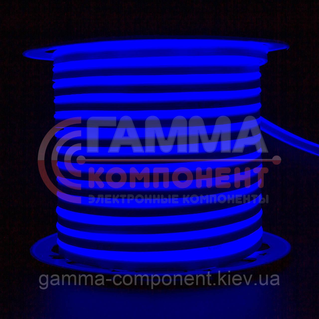 Светодиодный неон 220В синий AVT smd 2835-120 лед/м 7Вт/м, герметичный, бухты по 50 метров