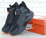 Мужские зимние кроссовки Nike Huarache X Acronym City Winter Black/Orange (с мехом)