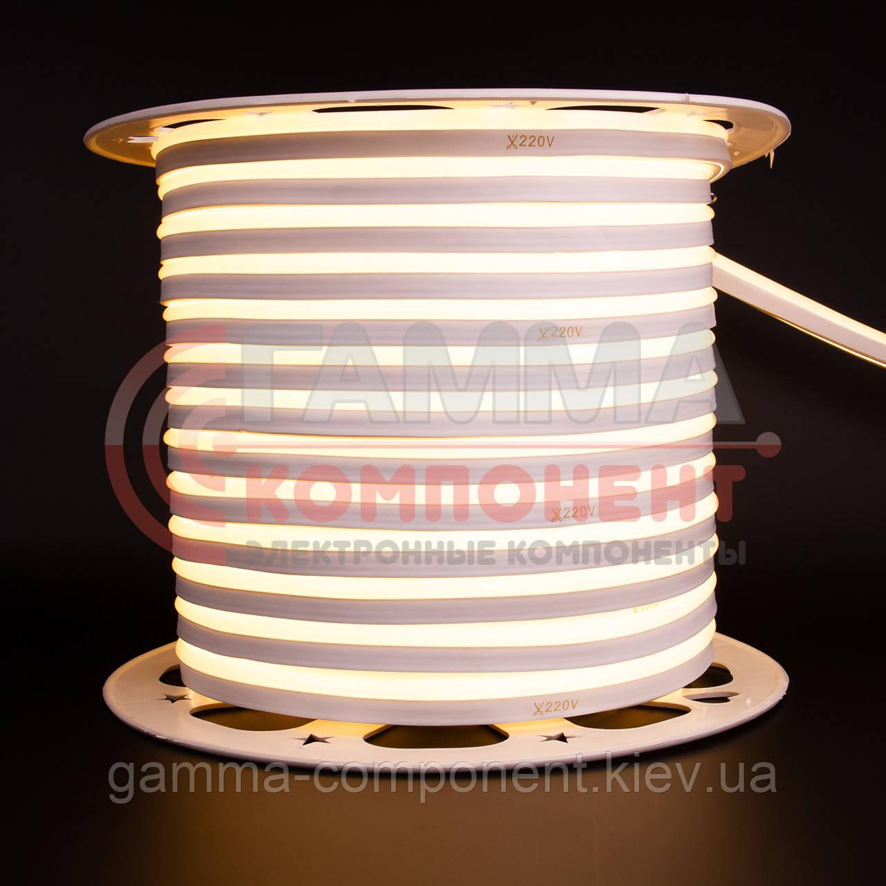 Светодиодный неон 220В белый теплый AVT smd 2835-120 лед/м 7Вт/м, герметичный