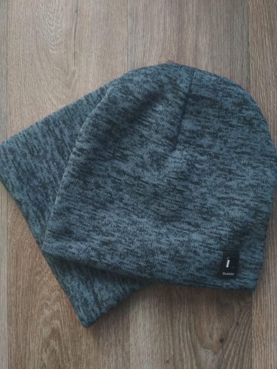 Спортивная шапка темно серая Classic + горловик (бафф)