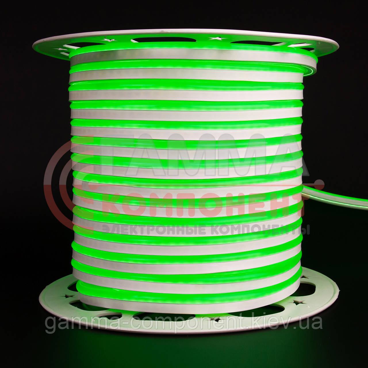Светодиодный неон 220В зеленый AVT smd 2835-120 лед/м 7Вт/м, герметичный. Бухта 50 метров.