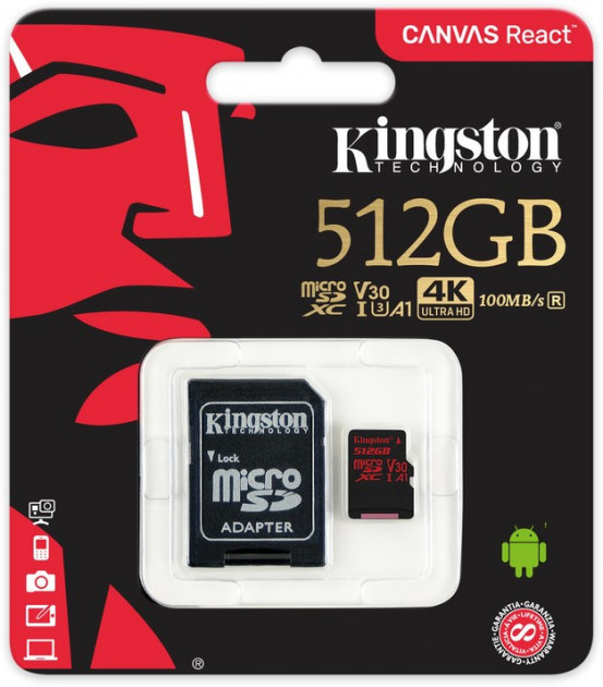 Карта памяти Kingston microSDXC 512GB Canvas React Class 10 UHS-I U3 V30 + SD-адаптер (SDCR/512GB)
