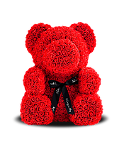 Мишка из роз красный 16 см   Ведмедик з троянд червоний 16 см подарок на день святого валентина