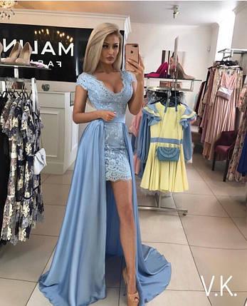 25d36e31fef Шикарное вечернее платье-двойка голубого цвета на шелковой подкладке  42-44р