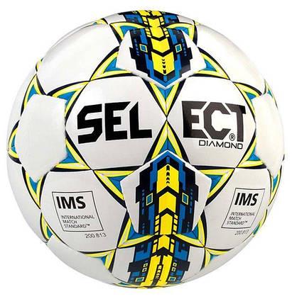 Мяч футбольный SELECT Diamond IMS NEW 4 размер Белый/Синий, фото 2