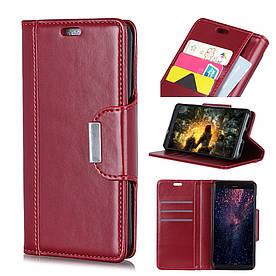 Чехол книжка для Huawei P30 Lite боковой с отсеком для визиток и магнитной застежкой, красный