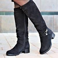 Женские зимние сапоги элегантные натуральная замша черные полушерсть удобные стильные (Код: 1248а)