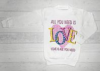 """Детская кофта  на девочку """" Love """" 4,5,6,7,8 лет"""