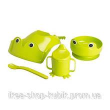 ІКЕА МАТА Набір посуду, 4 предм, зелений