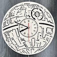 Настенные часы ручной работы из дерева 7Arts Звезда смерти CL-0104, фото 1