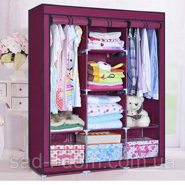 Тканевый шкаф для хранение одежды, бордовый