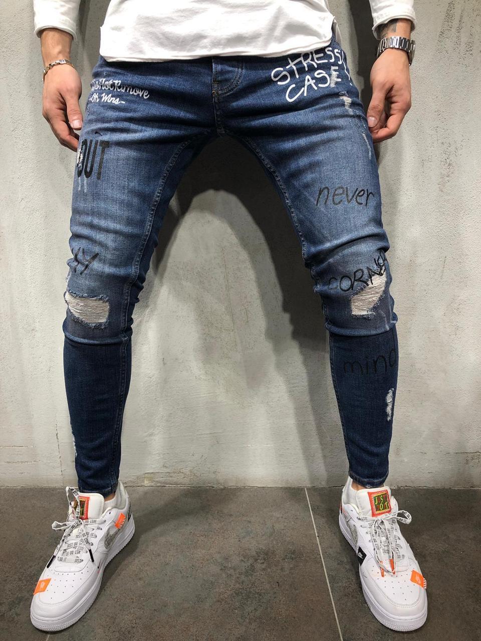 9c3f323880f Мужские синие джинсы с потертостями на коленях (рваные джинсы) синие  зауженные - Krossovki в