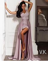 Вечернее платье розового цвета со съемной шелковой юбкой 42-44р