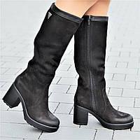 Женские зимние сапоги на платформе кожаные черные на меху мягкая резиновая подошва (Код: 1300)