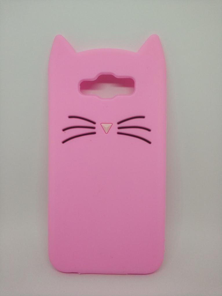 Объемный 3d чехол для Samsung J7 Neo Galaxy J701 Усатый кот розовый